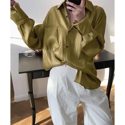 シャツ ブラウス 【chuclla】【2020/SS】サテンタッチ オーバーシルエットシャツ chw1149
