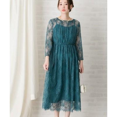 ドレス 【WEB限定】配色レースミディドレス