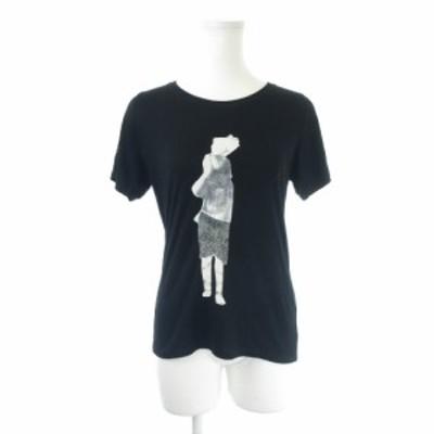 【中古】ビュルデサボン bulle de savon Tシャツ カットソー ラウンドネック 半袖 プリント 人物 F 黒 ブラック