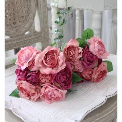 モーブミックス ローズブーケ9輪 シルクフラワー アーティフィシャルフラワー 薔薇 造花 花束 アンティーク シャビーシック かわいい アンティーク風 モーブピ