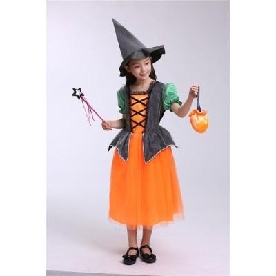 ハロウィン 衣装 仮装 子供用 4点セット ウィッチ 巫女 悪魔 魔女 キッズ ハロウィーン コスチューム コスプレ halloween パーティー