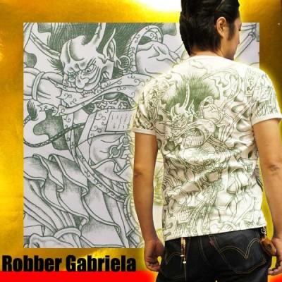 和柄 刺青Tシャツ(半袖)[筋彫り 風神/緑]【刺青シリーズ】 【S】