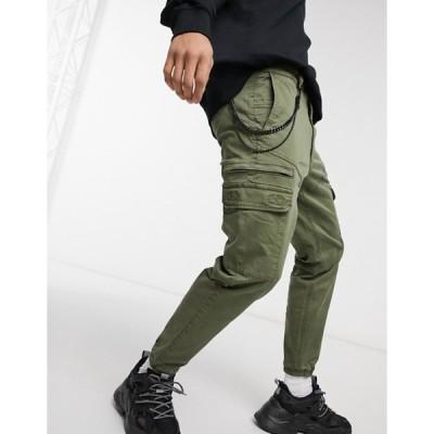 プルアンドベアー メンズ カジュアルパンツ ボトムス Pull&Bear cargo chino sweatpants in khaki with chain