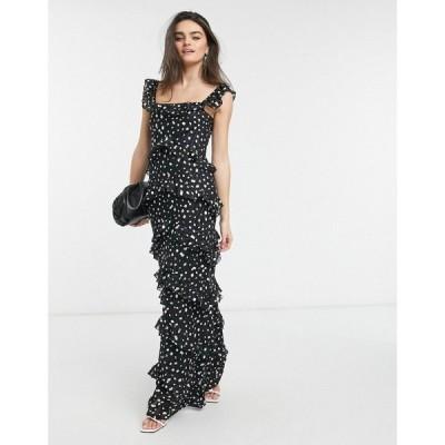 プリティーラビッシュ Pretty Lavish レディース ワンピース ティアードドレス ワンピース・ドレス Tiered Ruffle Maxi Dress In Black Spot ブラックスポット