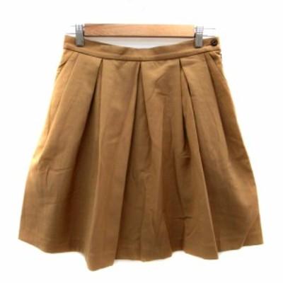 【中古】アダムエロペ Adam et Rope' スカート プリーツ ひざ丈 38 茶色 ブラウン /HO16 レディース