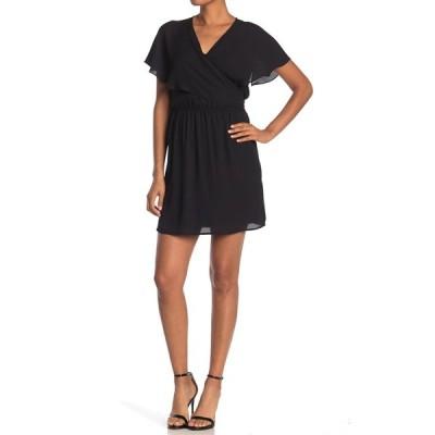 ディ アール トゥ バイ ダニエル レイン レディース ワンピース トップス Flutter Sleeve Wrap Dress BLACK