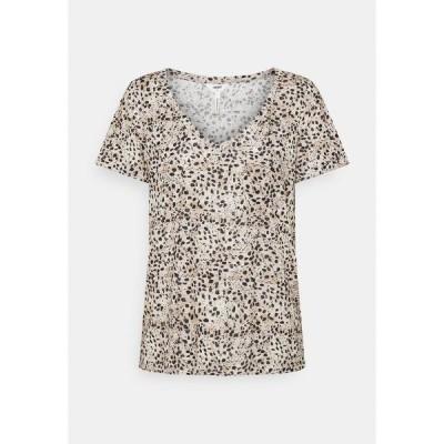 オブジェクト Tシャツ レディース トップス OBJTESSI SLUB V NECK SEASON - Print T-shirt - sandshell