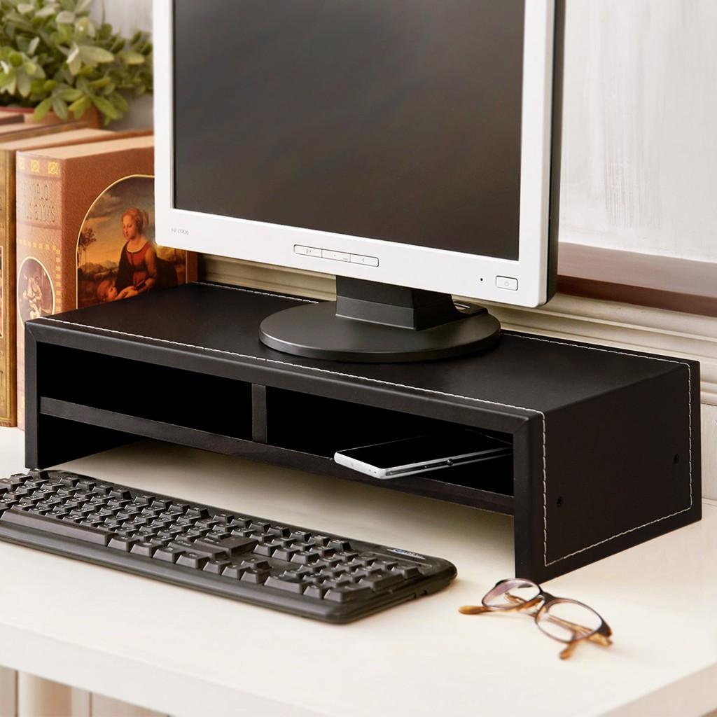 居家大師 低甲醛雙層馬鞍皮革桌上架 電腦架/收納架/置物架/鍵盤架/螢幕架/電視架 ST017