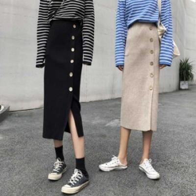 韓国風 ins スリット ロングスカート Aライン スカート 着痩せ 体型カバー 同窓会 女子会 お呼ばれ 二次会 ブラック アプリコット