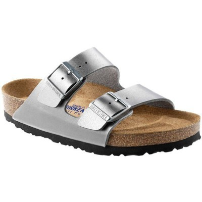 ビルケンシュトック レディース スニーカー シューズ Birkenstock Arizona Birko-Flor Soft Footbed Sandals - Women's Silver