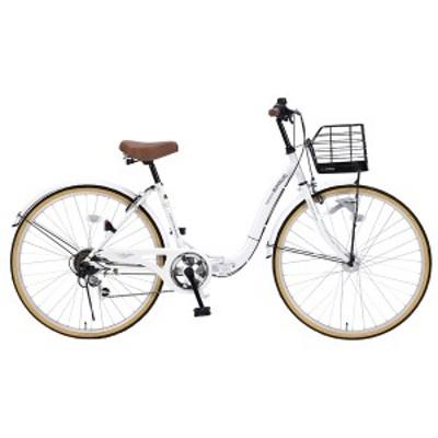 マイパラス M-509-W 折たたみ自転車 26インチ 6段変速 折畳シティ26 オートライト(ホワイト)MYPALLAS[M509W]【返品種別B】