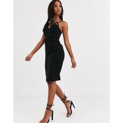 フォース&レックレス 4th + Reckless レディース ワンピース ペンシル ミドル丈 midi pencil dress with button detail in black ブラック