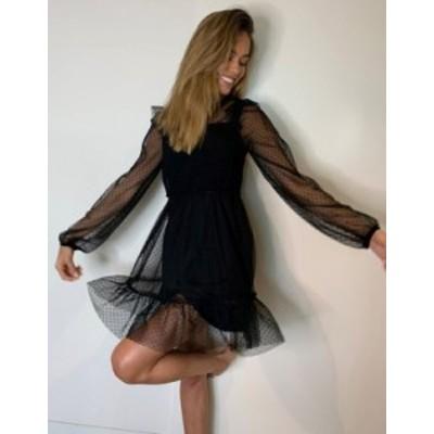 リバーアイランド レディース ワンピース トップス River Island long sleeve frill shirred mini dress in black Black