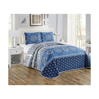 キルトベッドスプレッド ベッドカバー 花柄 ブルー ネイビー ブルー ベージュ 特大サイズ ダイアナキング/キングカリフォルニアキング