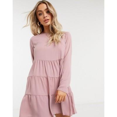 ミスガイデッド レディース ワンピース トップス Missguided tiered smock dress with long sleeves in blush Blush