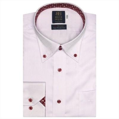 ワイシャツ 長袖 形態安定 ドゥエボットーニ ボタンダウン 綿100% ピンク×織柄 標準体