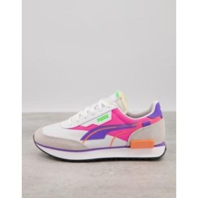 プーマ レディース スニーカー シューズ Puma Future Rider sneakers in pink and purple White/luminous pink