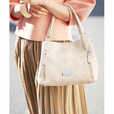 【エムケーミッシェルクランバッグ】 スクエアデザインバッグ レディース メタリックホワイト F MK MICHEL KLEIN BAG