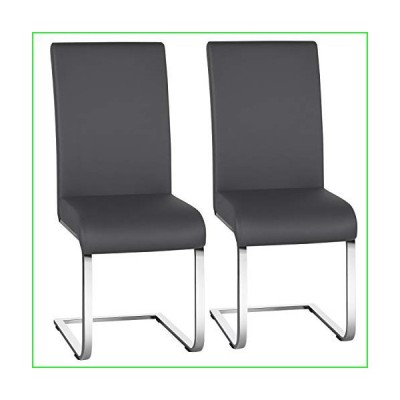 Yaheetech Dining Chairs PU Leather Upholstered Dining Side Chairs High Back Dining Room Chairs Metal Home Kitchen Furniture Modern 2PCS, Gra