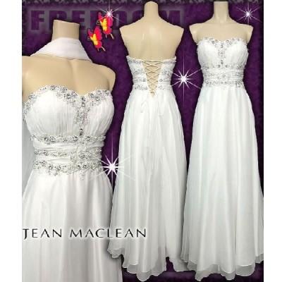 JEAN MACLEAN キャバドレス パーティードレス 小悪魔agehaドレス  フラワービジューシフォンロングドレス(ストール付)結婚式