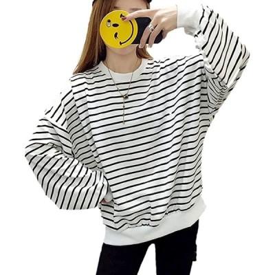 アルバフィカ レディース ボーダーライン シャツ トップス 長袖 シンプル デザイン M,(ホワイト, M)