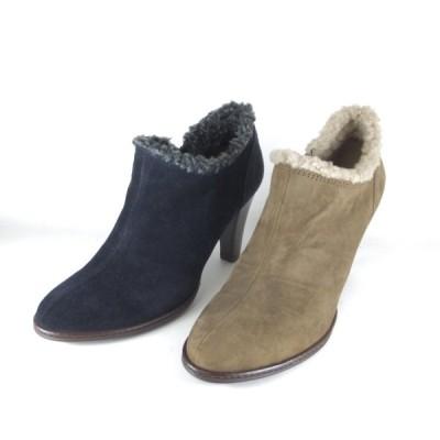 エイゾー 靴 セール eizo 靴 18381 ネイビー トープ スエード ファー ブーツ ブーティーブーツ ハイヒール ファスナー 履きやすいブーツ レディース カジュアル