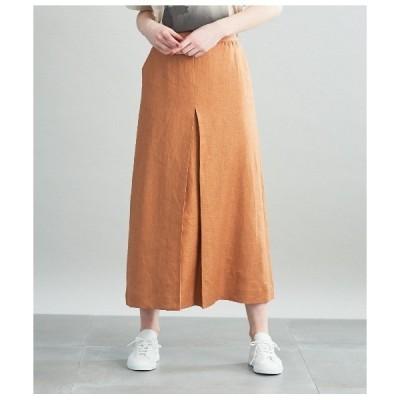 スカート ライトリネンツイル プリーツロングスカート