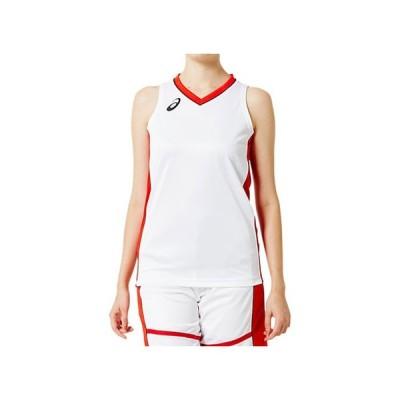 W'Sゲームシャツ (ブリリアントホワイト×クラシックレッド) ASICS アシックス (2062A018)