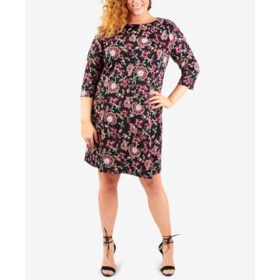 ニューヨークコレクション レディース ワンピース トップス Plus Size Necklace Jacquard-Knit Shift Dress