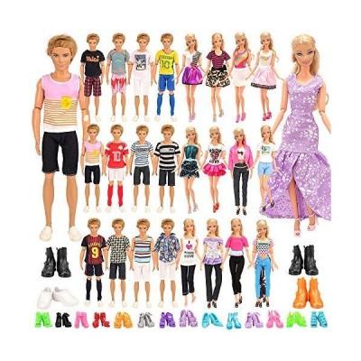 Barwa バービー用ドレス 着せ替え 女の人形と男の人形用服 バービー&ケン用 ガール カジュアル 34枚セット=10ケン用服+5着用服+