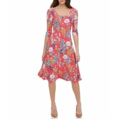 トミー ヒルフィガー レディース ワンピース トップス 3/4 Sleeve Floral Jersey Midi Dress Geranium Multi