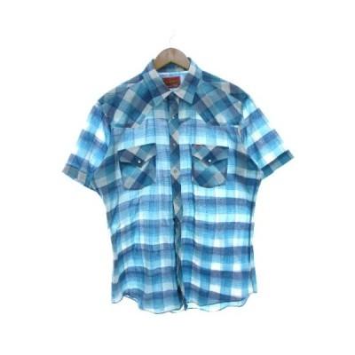 【中古】ヴィンテージ VINTAGE ELY PLAINS ウエスタンシャツ チェック カウボーイシャツ 水色 ブルー L メンズ 【ベクトル 古着】