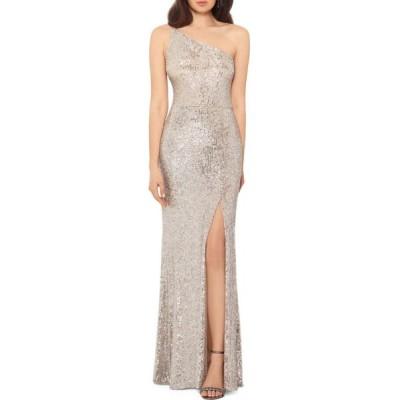 エックススケープ Xscape レディース パーティードレス ワンショルダー ワンピース・ドレス Petite One-Shoulder Sequin Embellished Gown