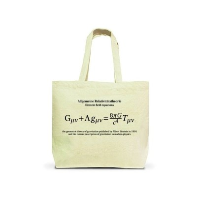 科学Tシャツ:一般相対性理論(アインシュタイン方程式)微修正版_黒:学問・物理 トートバッグL(ナチュラル)