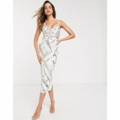 エイソス ASOS Tall レディース ワンピース ペンシル ミドル丈 ASOS DESIGN Tall midi pencil dress with cut out and lattice embellish