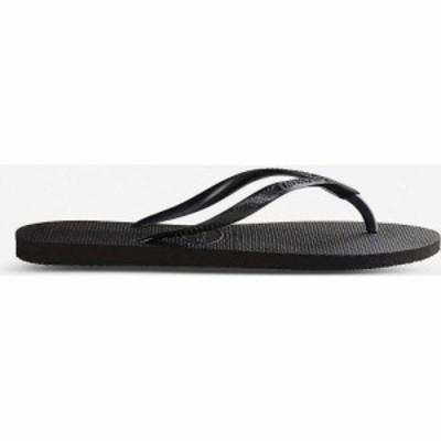 ハワイアナス HAVAIANAS レディース ビーチサンダル シューズ・靴 Logo-embellished rubber flip-flops SLIM BLACK