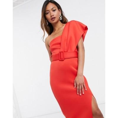 エイソス レディース ワンピース トップス ASOS DESIGN one shoulder belted midi pencil dress in red