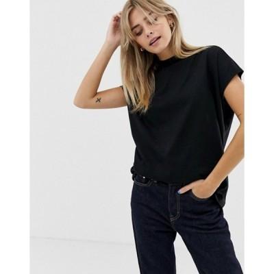 ウィークデイ レディース Tシャツ トップス weekday prime t-shirt in black in Organic Cotton