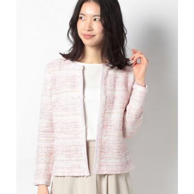 レリアン ツイードジャケット(ピンク系)【返品不可商品】