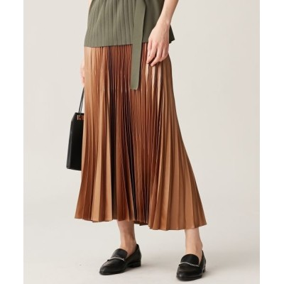 L size ONWARD(大きいサイズ)/エルサイズオンワード 【マガジン掲載】Gloss Satin スカート(番号CE24) キャメル系 40