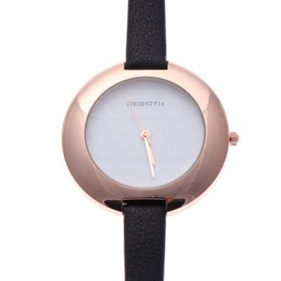 スマイルプロジェクト SMILE PROJECT リバース REBIRTH セイコームーブメント 日常生活防水 大きめケースにシンプルな文字盤が上品なピンクゴールド腕時計 BLK (BLK)