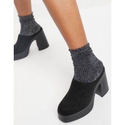 エイソス レディース サンダル シューズ ASOS DESIGN Pascha chunky heeled mules in black Black