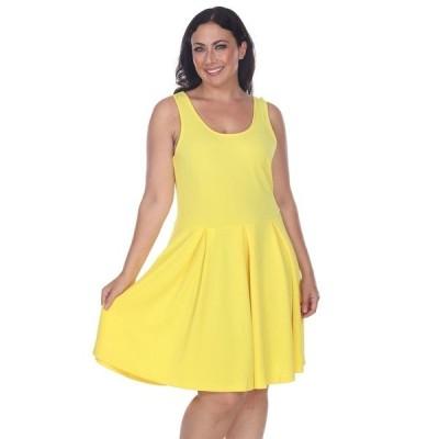 ホワイトマーク ワンピース トップス レディース Women's Plus Size Crystal Dress Yellow