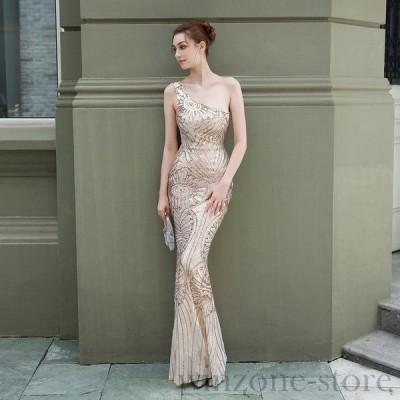 パーティードレスイブニングドレス可愛い安いナイトクラブキャバスパンコールロングドレス柄ワンショルダー