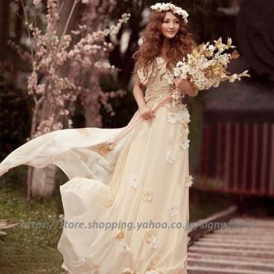 ウェディングドレス ロングドレス 編み上げタイプ 豪華な ウェディングドレス☆ウエディングドレス☆ビスチェタイプ☆刺繍 ☆結婚☆ ☆妊婦さんもOK