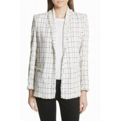 IRO イロ ファッション 衣類 IRO NEW White Black Windowpane Frayed Womens Size 10 Knit Jacket