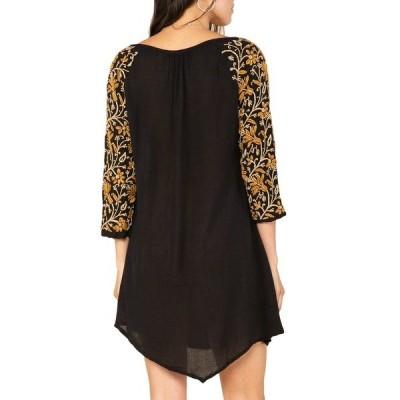 ラガ レディース ワンピース トップス Ophelia Floral Embroidered Shift Dress BLACK