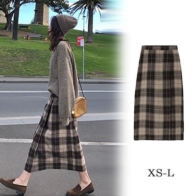 XS-L暖かいチェックウールスカート ウエストゴムも入っていて楽ちんウールスカートチェックスカート