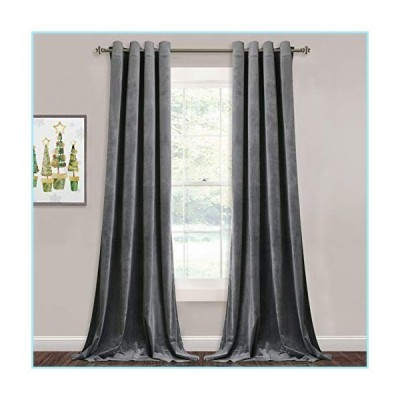 新品StangH Grey Velvet Curtains for Living Room - 96 inches Long Light Blocking Velvet Curtain Panels Privacy Grommet Window Drapes for Be