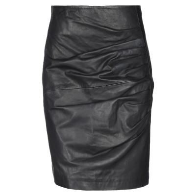 パロッシュ P.A.R.O.S.H. ひざ丈スカート ブラック XS 羊革(ラムスキン) 100% / レーヨン / ナイロン / ポリウレタン ひ